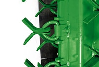 Closeup of the fastening system on the John Deere Flail Shredder