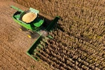 Overhead view of a John Deere Combine with a 616C Corn Head in a corn field