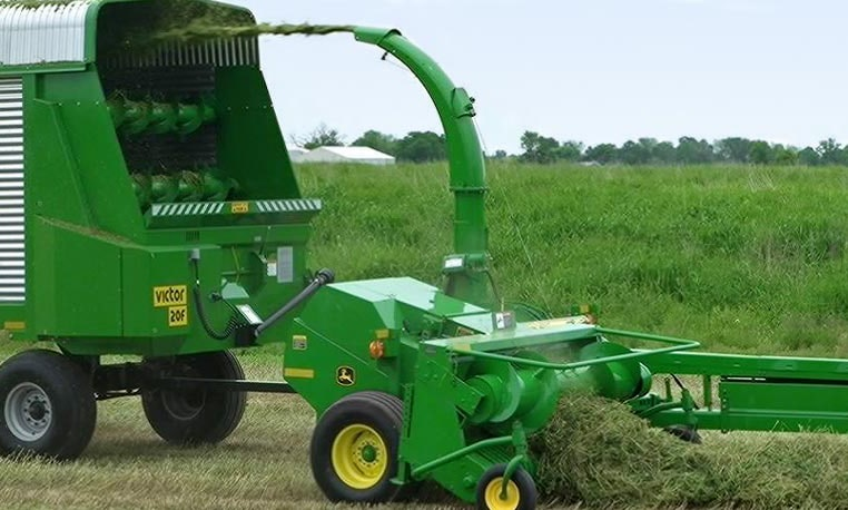 One of John Deere's Pull -Type Forage Harvesters being used in a field