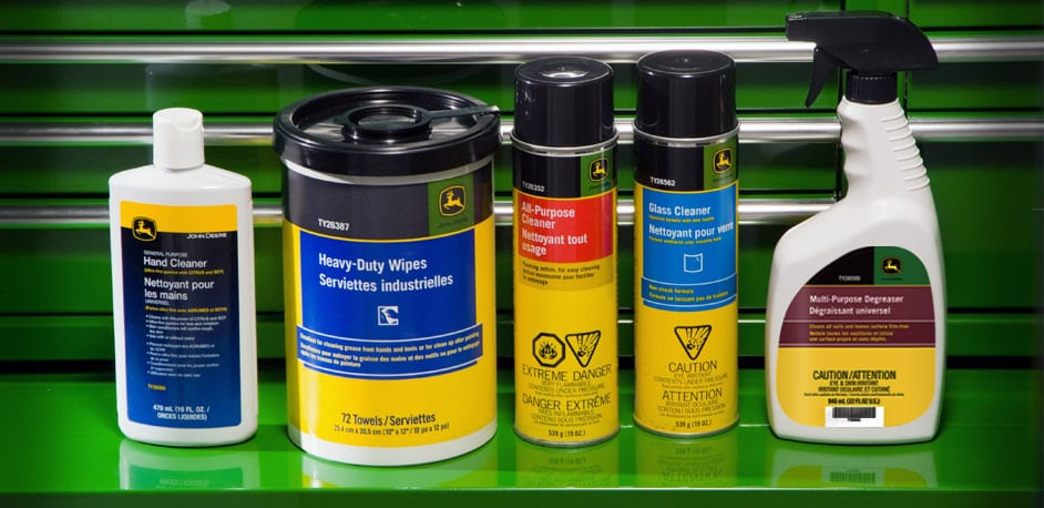 from left to right: hand cleaner, heavy-duty wipes, all-purpose cleaner, glass cleaner, multi-purpose degreaser