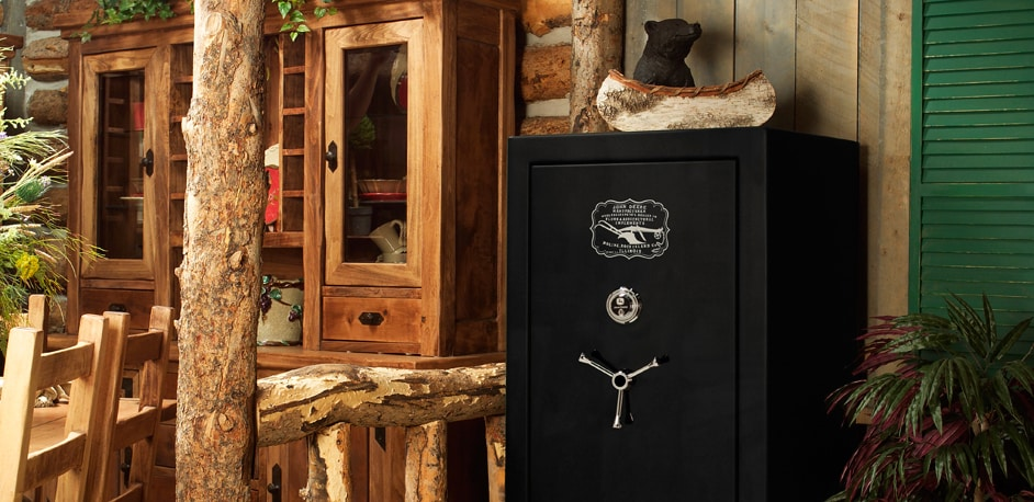 Security Safe in a log cabin-type home