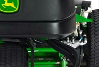 Closeup of the 3WD hydrostatic traction system on the PrecisionCut mower