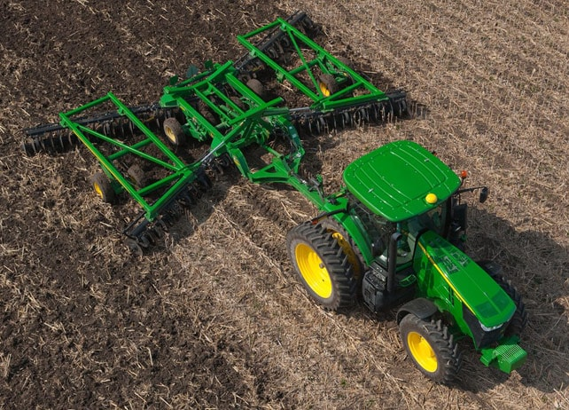 Overhead view of the 2625 Three-Section Tandem Disks for Primary Tillage
